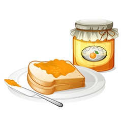 A sliced bread with an orange jam vector image