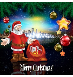 Abstract celebration with Santa Claus and panorama vector
