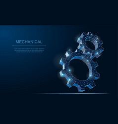 abstract wireframe two gear 3d modern vector image