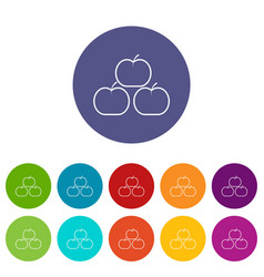 apples icons set color vector image