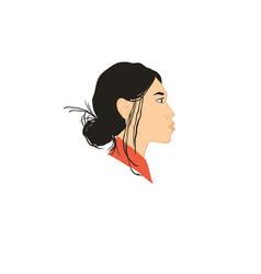 asian girl profile portrait black hair red dress vector image