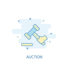 auction line concept simple line icon colored vector image