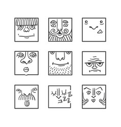 avatar doodle icons collection vector image