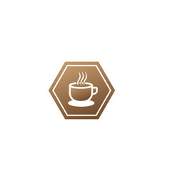 big hot cup cafe warm caffee logo design vector image