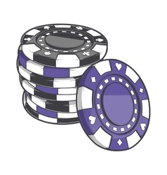 Black and violet stacks of gambling chips vector image