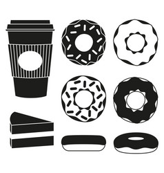 black and white coffee and donut silhouette set vector image