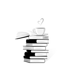 Black and white stack books and a cup coffe vector