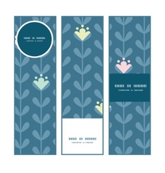 Blloming vines stripes vertical banners set vector