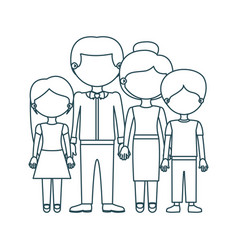 Blue contour faceless family group in formal suit vector