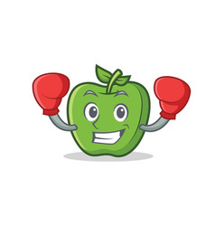boxing green apple character cartoon vector image