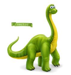 brachiosaurus sauropod dinosaur cartoon character vector image