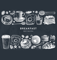 Breakfast dishes collection on chalk board vector