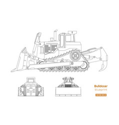 bulldozer in outline style vector image