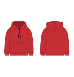 Children hoodie in red color isolated on white vector