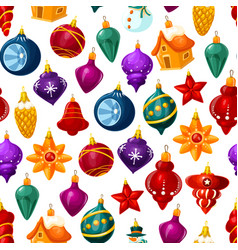 Christmas decorations seamless pattern vector