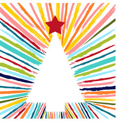 christmas tree hand drawn with colorful brush vector image
