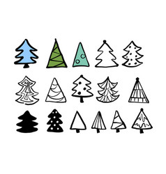 Christmas trees cute hand drawn design set vector