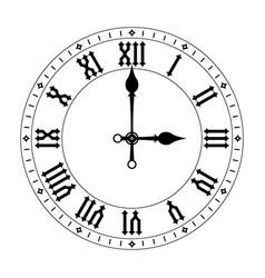 Clock black face with roman numerals vector