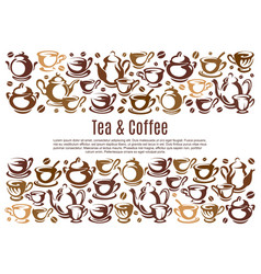 coffee poster with cups and kettles vector image