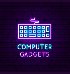 Computer gadgets neon label vector