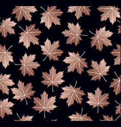Copper maple leaf seamless pattern backgroud vector