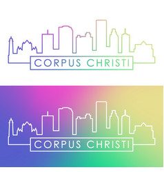 corpus christi skyline colorful linear style vector image