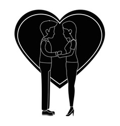 cute couple in love kissing vector image