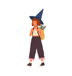 Cute happy girl wearing witch hat carry backpack vector