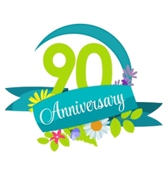 Cute Nature Flower Template 90 Years Anniversary vector