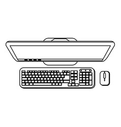 Desk computer with keyboard and mouse topview in vector