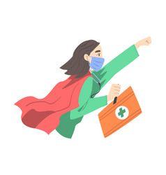doctor superhero wearing medical mask and cape vector image