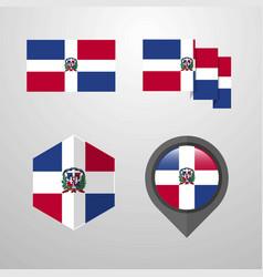 Dominican republic flag design set vector