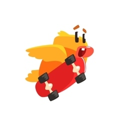 Duckling Skateboarding Cute Character Sticker vector image