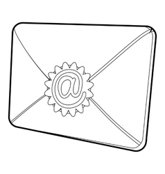 Envelope with email sign icon isometric 3d style vector