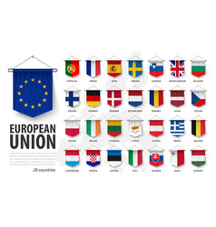 European union flags and membership 3d realistic vector