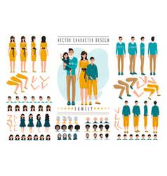 Family cartoon characters constructor set vector