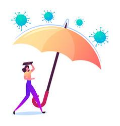 Female character under huge umbrella protecting vector