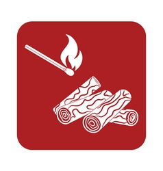 Firewood and matches icon vector