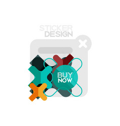 flat design cross shape geometric sticker icon vector image