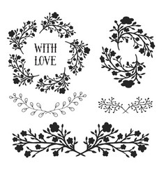 floral design elements set frames and borders vector image