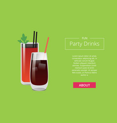 fun party drinks poster bloody mary whiskey cola vector image