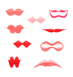 fun womens lips icons isolated on white vector image