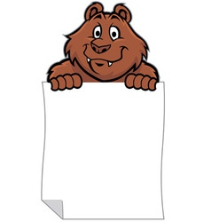 Funny bear hold a blank paper vector