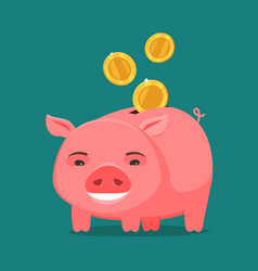 funny piggy bank and coins business banking vector image