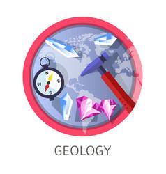 Geology discipline industry themed concept logo vector