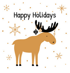 greeting card with hand drawn christmas elk vector image