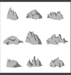 grey stone rock set vector image