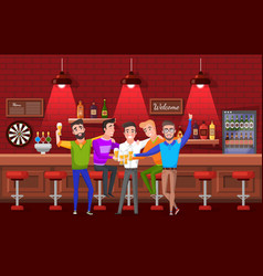 Groom and friends bachelor party pub vector