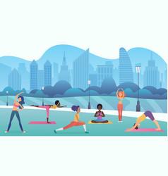 group women doing yoga in public city park vector image