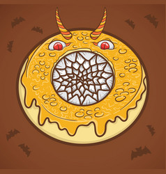 halloween donut scary monster vector image
